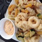 Fried calamari, peppers and squash