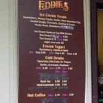 Eddie's Outdoor Ice Cream menu