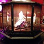 Fireplace in the evening in the lobby