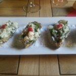 Tartare d huître et bar au basilic