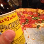 Pizza and a beer.
