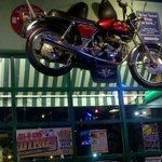 Motorcycle hanging from the ceiling
