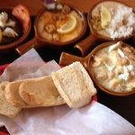 pick 4 our way, creole grits, yum yum, crab cake, crawfish etouffee
