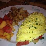 Mushroom, Spinach, Tomato, Onion & Cheddar Cheese Omelet
