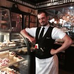 The pastry case & Karim, the beguiling waiter!