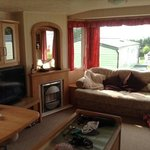 The living area in our privately rented caravan