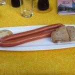 Salsicha com mostarda