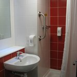 Small bathroom, clean but not easy to work in