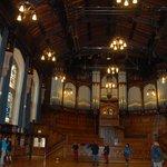 Main hall windows and pipe organ