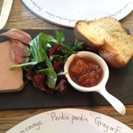Duck liver parfait with smoked duck breast and toasted brioche