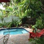 Relaxing tropical hot tub