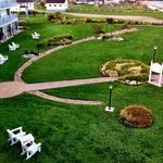 Perfectly manicured grounds. View from our room at the Normandie Hotel in Perce, Gaspe, Quebec.