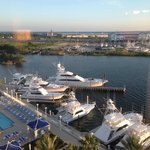 view from room of pool and yachts