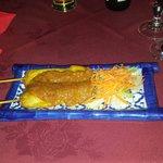Delicious chicken satay skewers