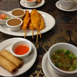 Chicken Satay and the spring rolls & soup that come with the lunch specials.