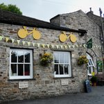 Front of Corn Mill Tearoom - decorated for Le Tour passing through Bainbridge last July