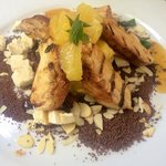 Chicken with chocolate and citrus