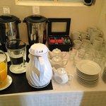 Coffee, tea, and juice counter