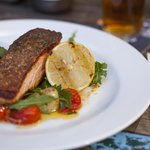 Crisp Skinned Salmon, Green Olives, Marinated Tomato and Kipfler Potatoes with Roasted Garlic