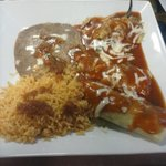 chili relleno and tamale with beans and rice