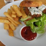 chickpea burger at Moutere Winery