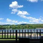 """Our """"1/2 circle"""" table at the Boathouse in Winona"""