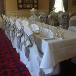 Table lay out. Chairs covers by gretna flower basket