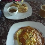Breakfast of roti canai and onion omelette