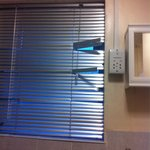 Broken blind in private bathroom