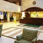 The lobby is large, with free coffee, and extensive seating/waiting areas