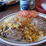 Machaca and eggs with rice and beans
