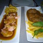 Pork cheek and steak