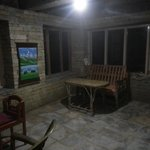 Cloud rolling into dining room at night -