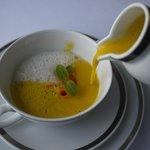 Carrot Cream soup with cinnamon coconut cream