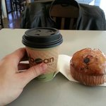 Small latte and blueberry muffin