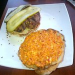 burger with roasted pepper and feta spread
