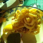 Light and tasty calamari may be had with a spicy red or milder green sauce