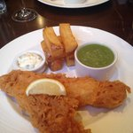 Fish and chips with mushy peas and tartare sauce £12 I think it was!!