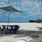 Table on the beach.
