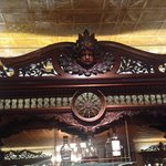 Amazing detail on the carved wood of the bar