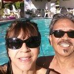 Enjoying the pool before we leave.