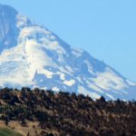 Camera View of Mt. Hood from Dalles Dam Visitor Parking Lot, Dalles, OR