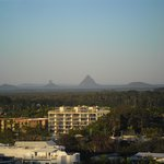View of Glass House Mountains from balcony