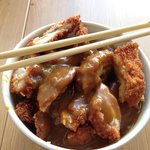 Chicken Katsu Curry and rice. Freshly made Katsu- massive, £5.95. Easily enough for 2 people. Gr