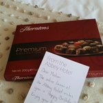 Birthday message & chocolates from the hotel team