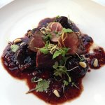 Lamb, figs and micro basil in wine reduction. Perfect.