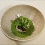 Japanese Hamachi ´Sashimi´ - green flavours with fermented garlic