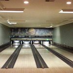 Candlepins are set up on the far right alley
