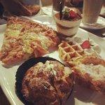 Clockwise from top: Pizza, Tiramisu, White Choc Waffle, Mirliton & Creampuff