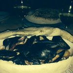 Seabass and shellfish in a pizza crust - wow